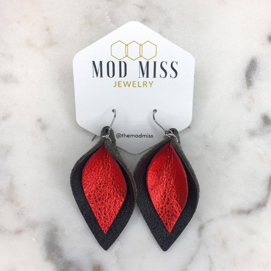 """Gussied Up"" Metallic Red + Black Stacked Leather Petal Earrings"