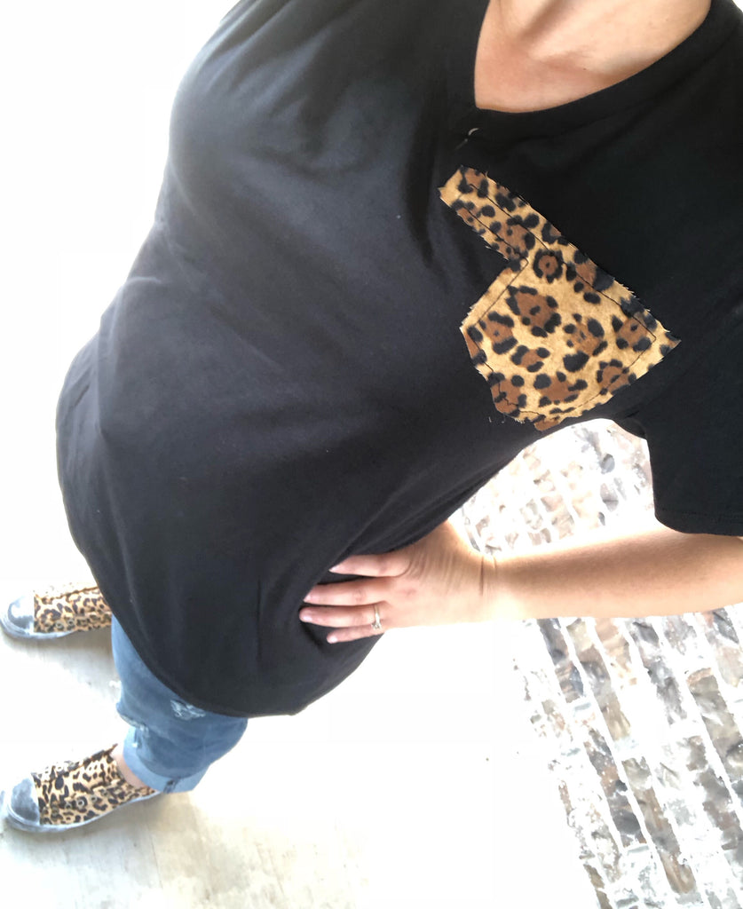 "Leopard + Oklahoma ""Pocket"" Black V-Neck Tee"