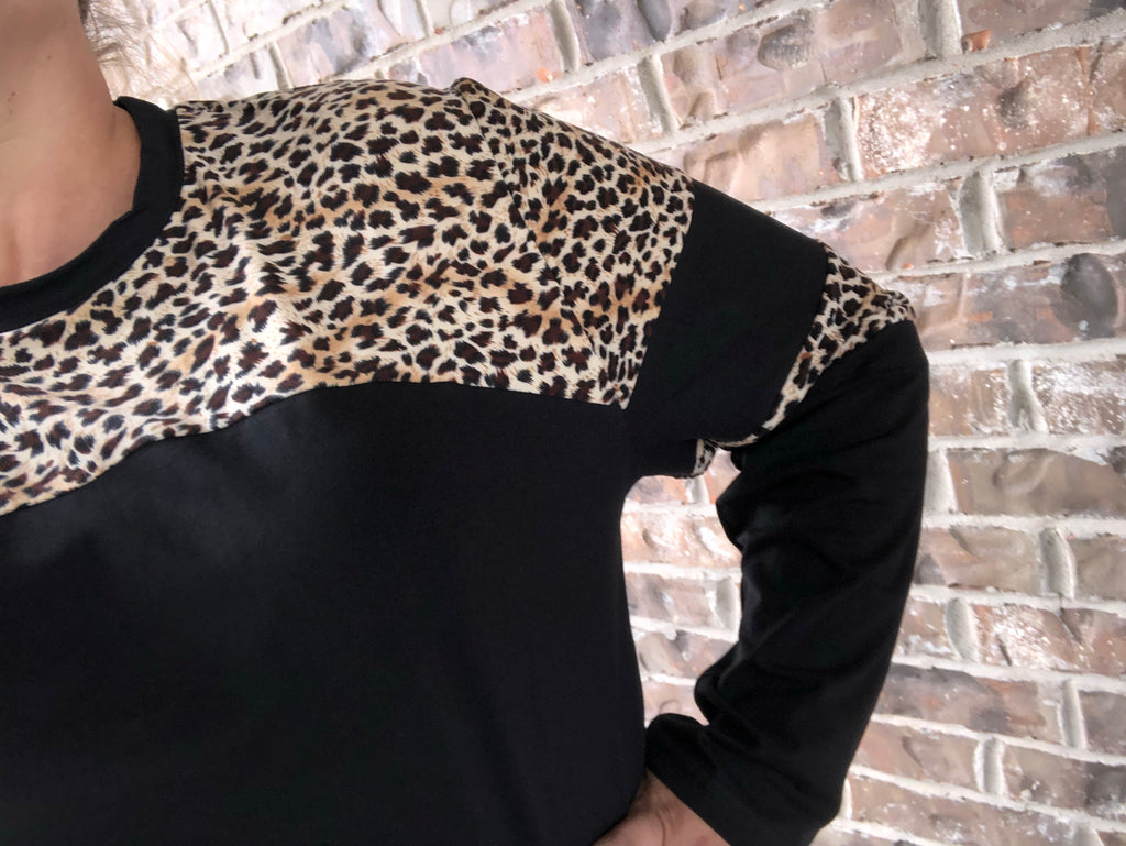 Inner Wild Child Black & Leopard Stripes Long Sleeve Top {Size Up!}