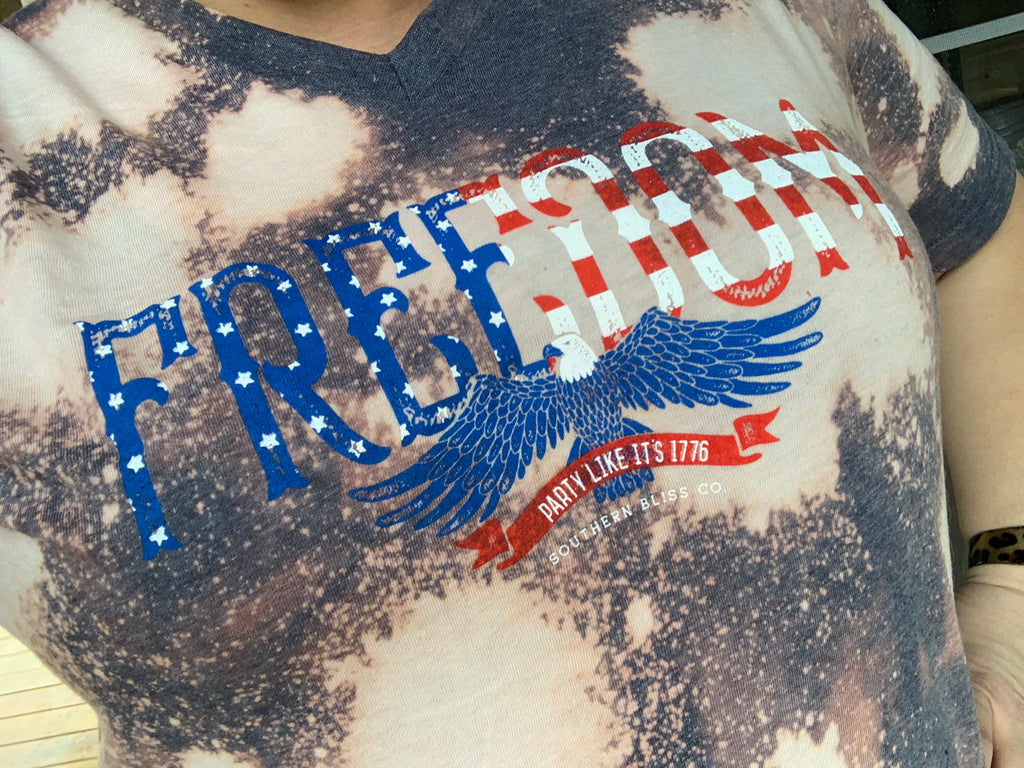 {FREEDOM} Distressed Heather Navy V-Neck Tee