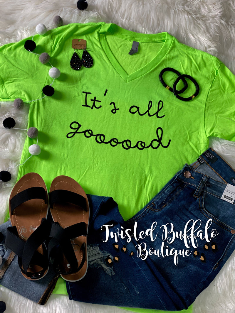 {IT'S ALL GOOD} Neon Chartreuse V-Neck Tee