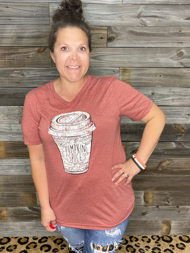 {PUMPKIN SPICE LATTE} Clay V-Neck Tee