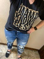 {MAMA KNOWS BEST} Leopard Heather Black V-Neck Tee