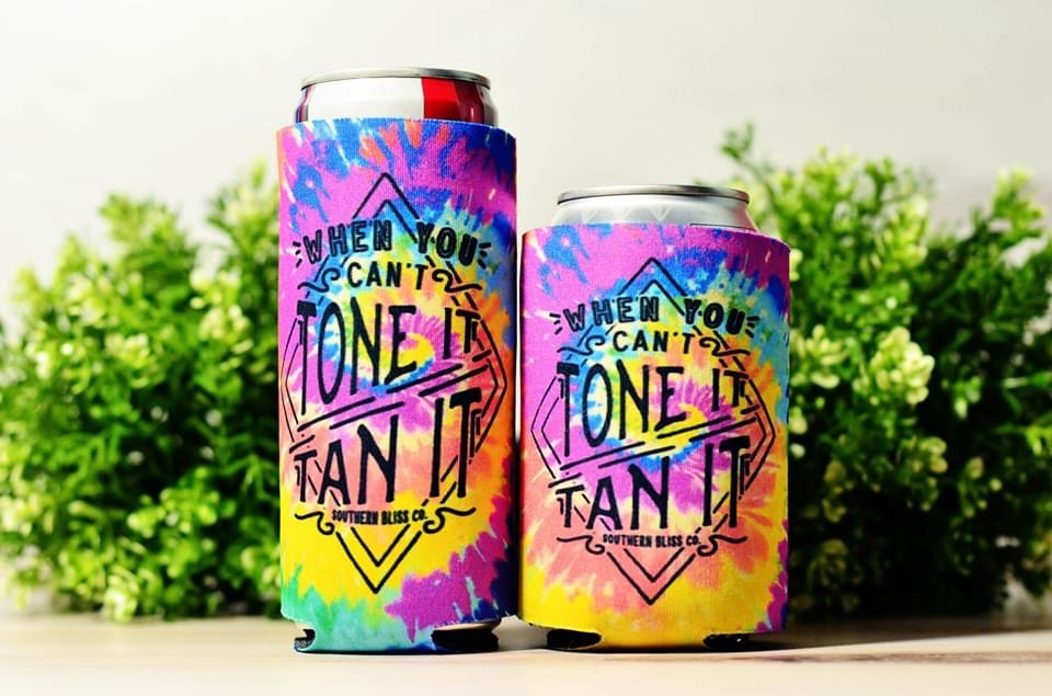 {When You Can't Tone It, Tan It} Tie Dye Can Cooler