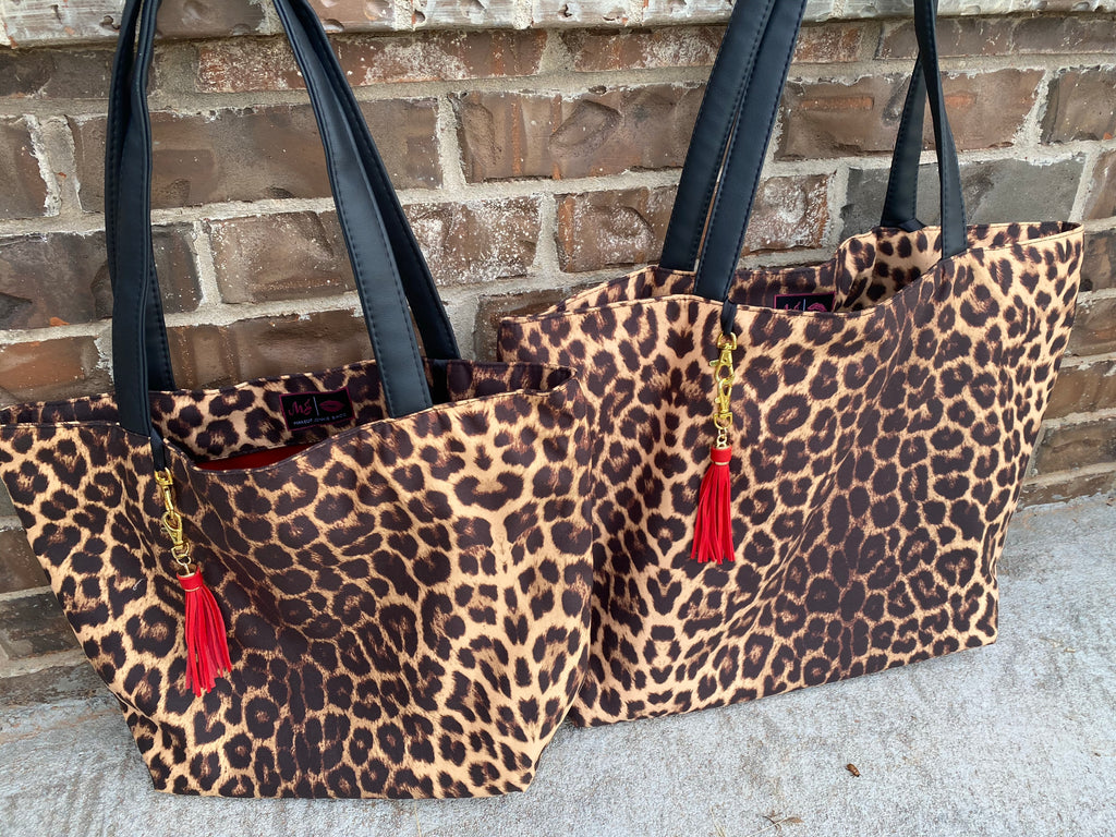 {EXOTICA} Leopard Make Up Junkie Tote Bag (Two Sizes)