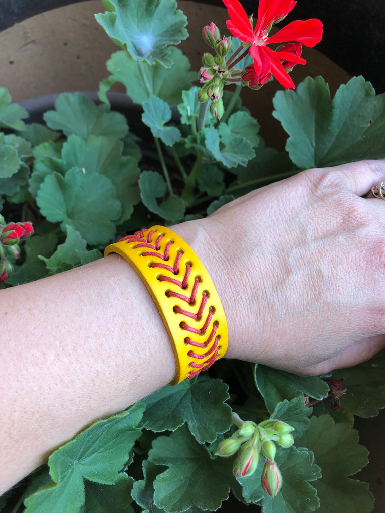 Softball Laces Leather Adjustable Snap Bracelet