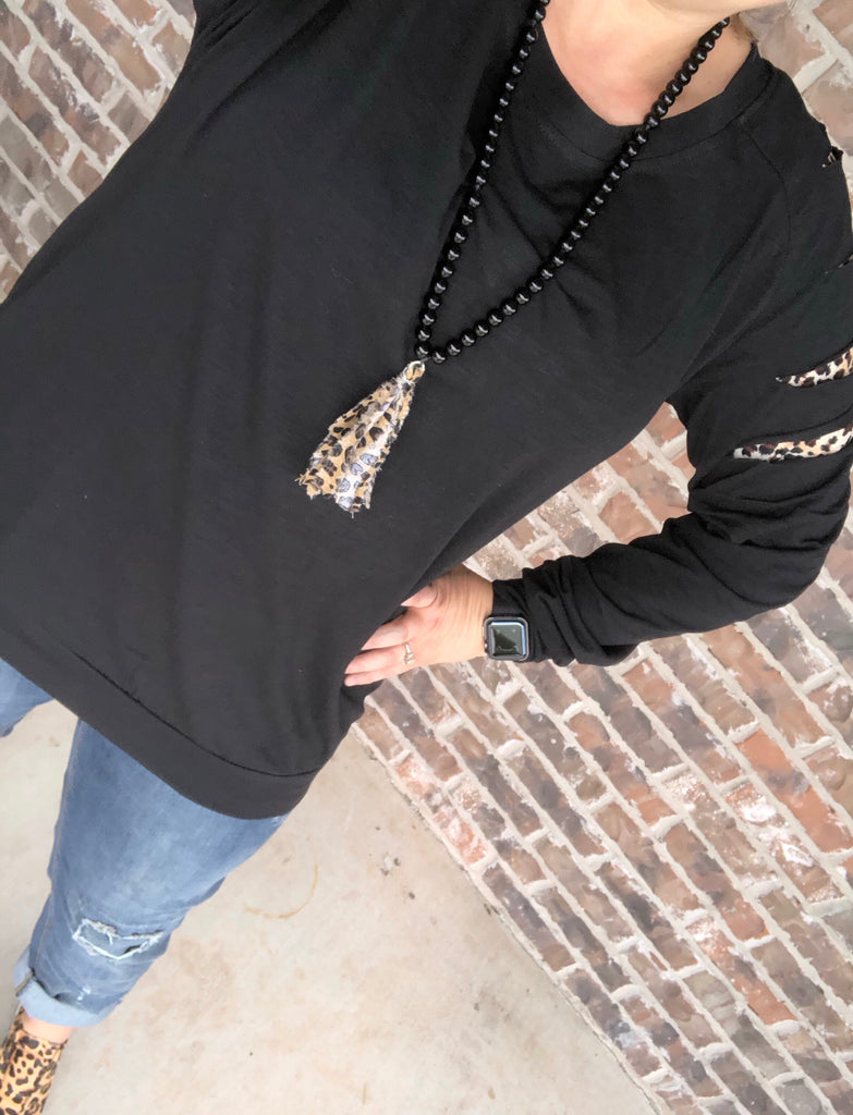 {A CUT ABOVE} LEOPARD Black Distressed Long Sleeve Top