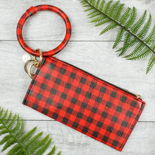 {MARIA} RED + BLACK PLAID Bangle Keychain With Zipper Wallet