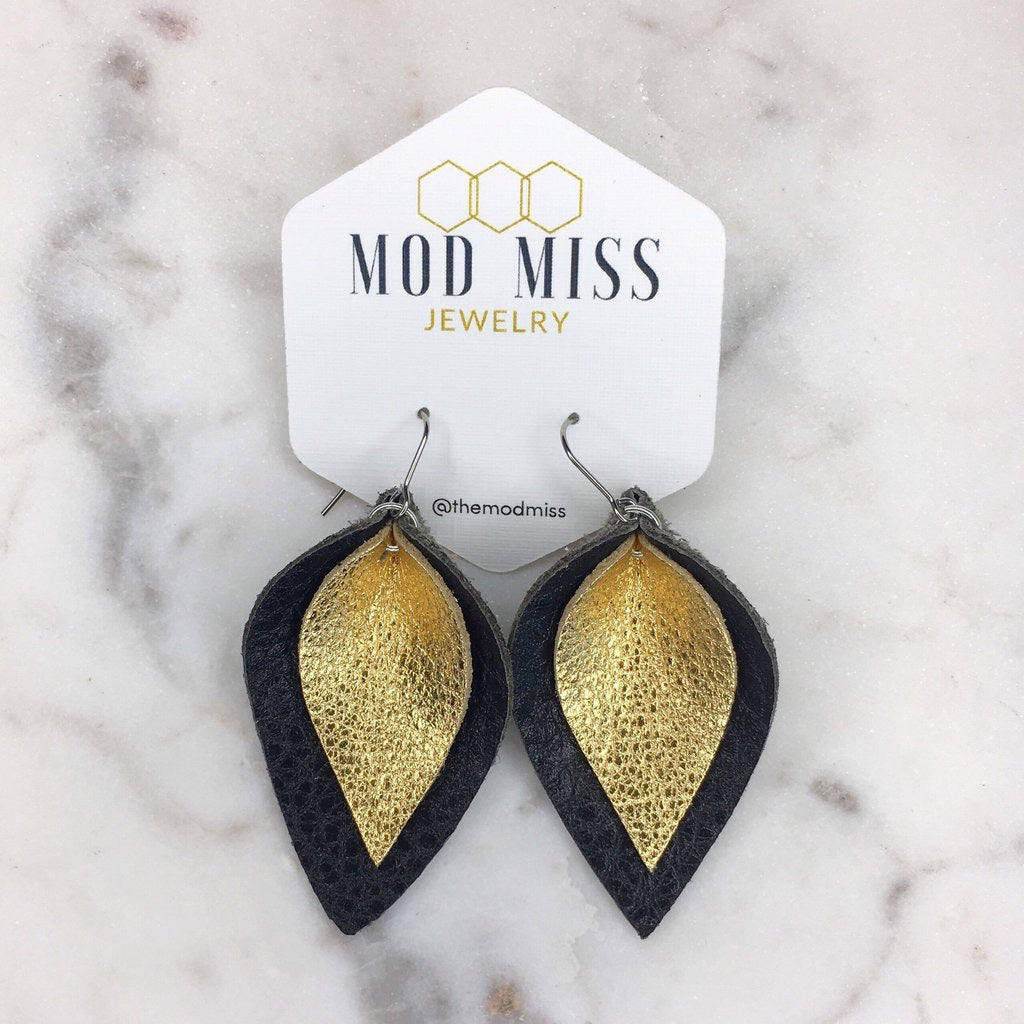 """Inez"" Metallic Gold + Black Stacked Leather Petal Earrings"