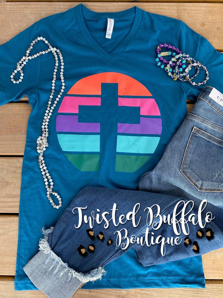 {SPRING CROSS} Bold Colorblock Deep Teal V-Neck Tee