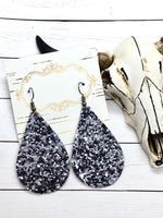 """Ozzy"" Gunmetal Glitter Canvas Teardrop Earrings"