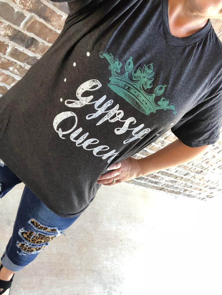 Gypsy Queen Turquoise Crown Graphite V-Neck Tee