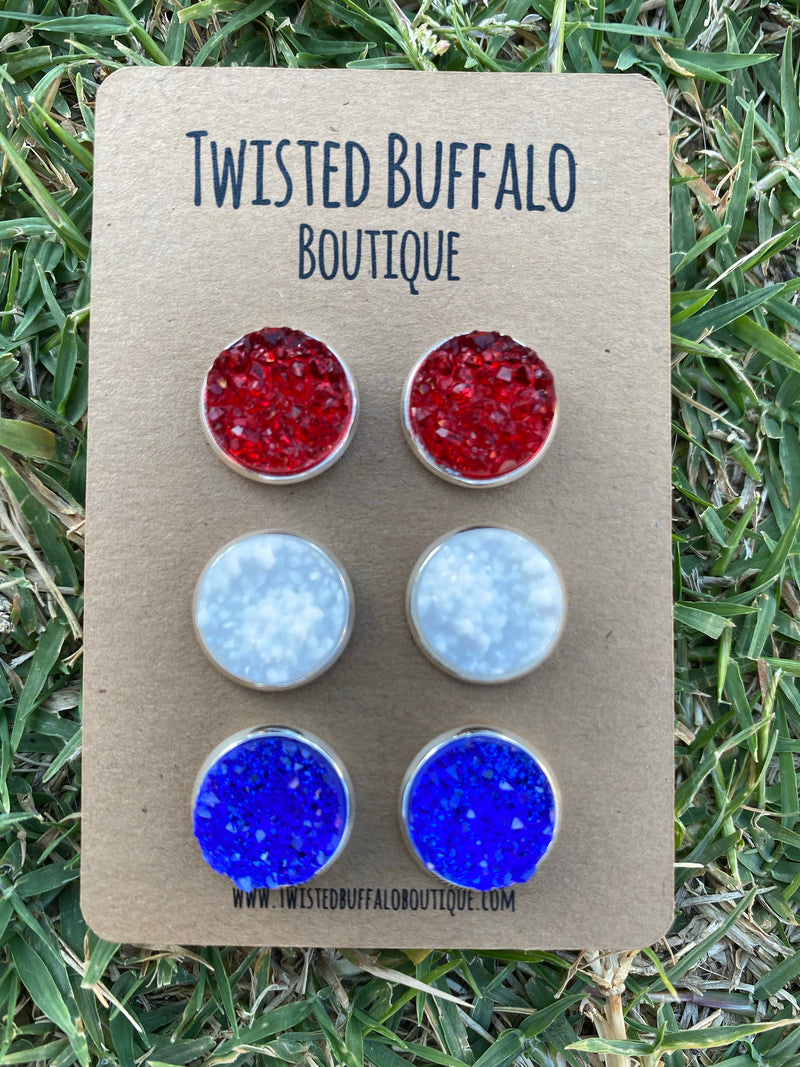 From Sea to Shining Sea {ROUND} Red, White + Blue Druzy 12mm Earrings Set