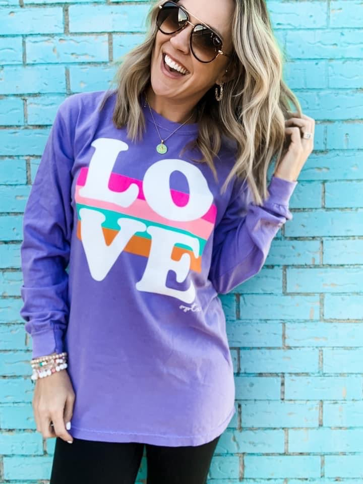 {VIOLET + VALENTINES} LOVE Violet Long-Sleeve Crew Neck Tee
