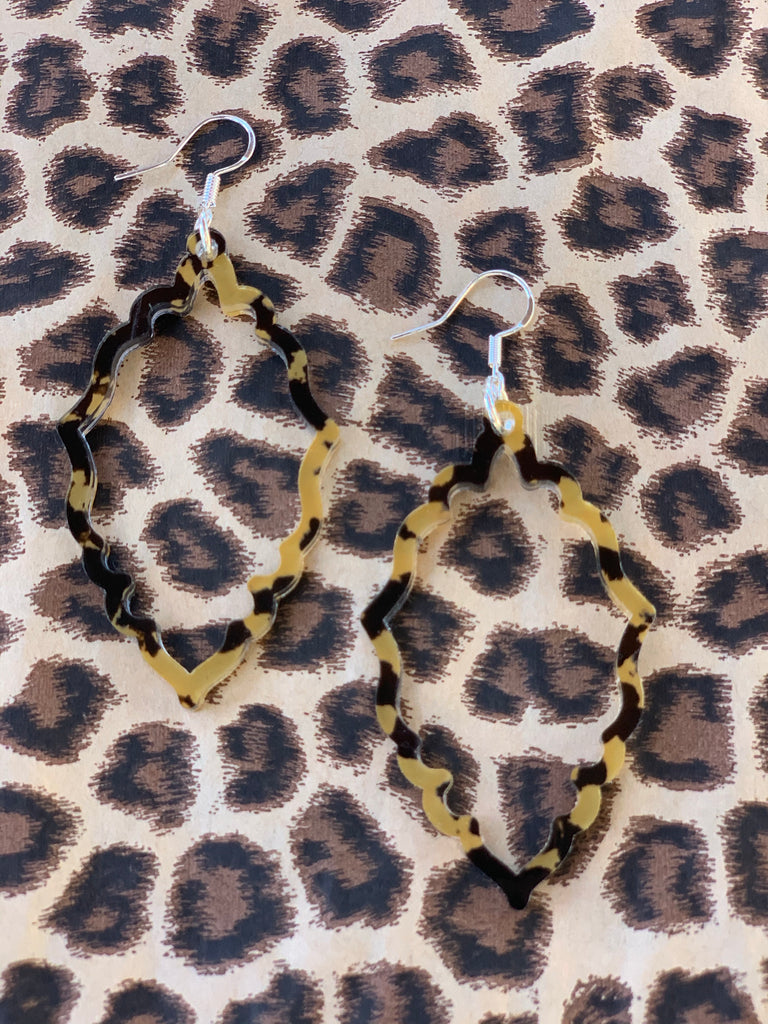 """Priscilla"" Leopard Acrylic Scalloped Earrings"