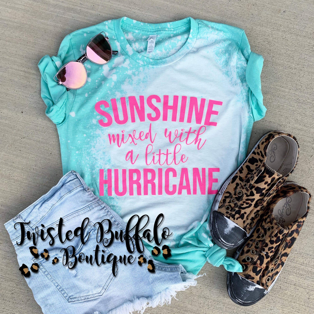 {SUNSHINE MIXED WITH A LITTLE HURRICANE} Neon Pink Distressed Heather Mint Crew Neck Tee