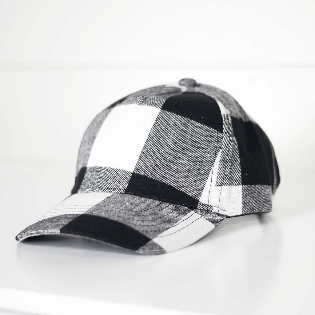 {WANDA} White + Black Buffalo Plaid Trucker Cap/Hat