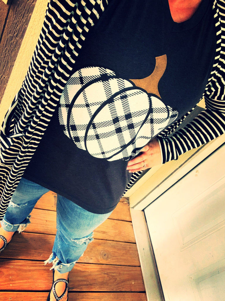 {MATILDA} Black + White Striped Cardigan with Pockets