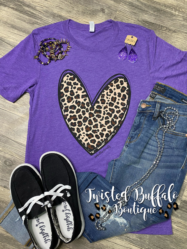 {CRUSHING ON YOU} Leopard Heart Purple Crew Neck Tee