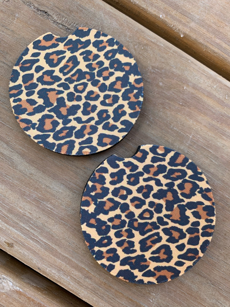 {LEOPARD} Absorbent Car Coasters (Set of 2}