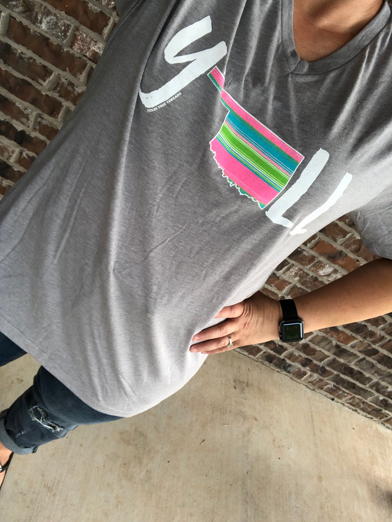 Y'ALL Serape Oklahoma Athletic Gray V-Neck Tee