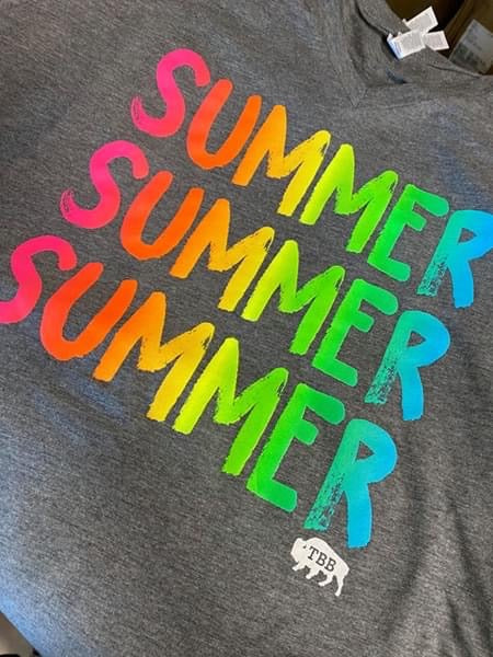 {SUMMER SUMMER SUMMER} NEON Super Soft Gray V-Neck Tee