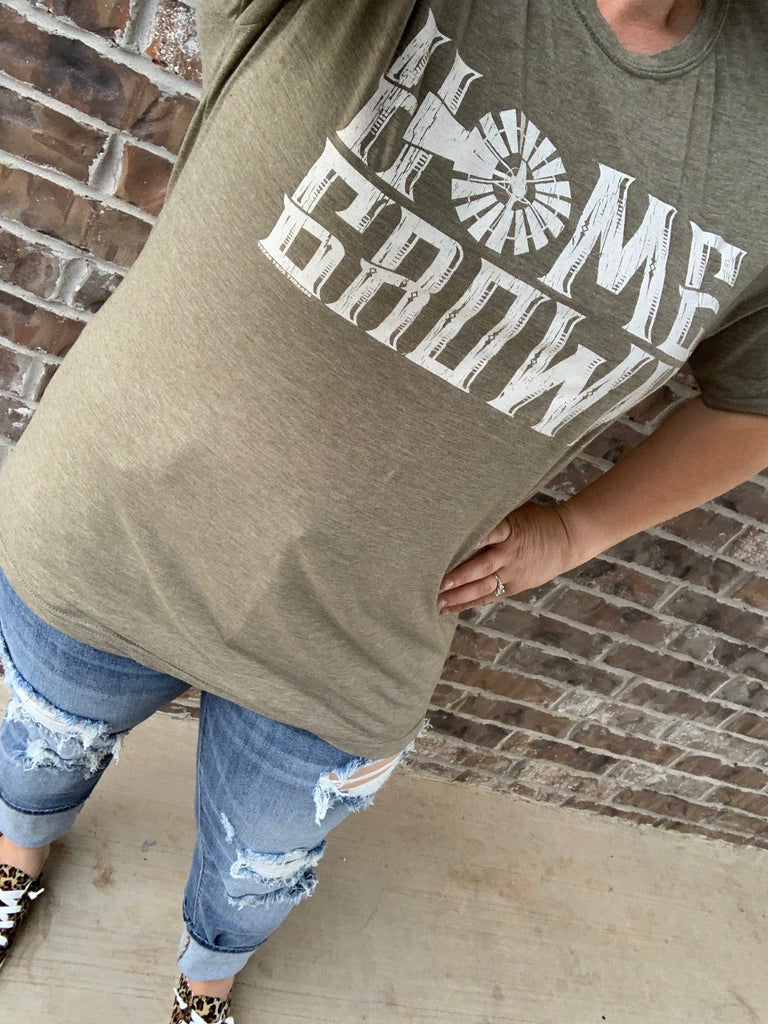 {HOMEGROWN} Windmill Sage Green Crew Neck Tee
