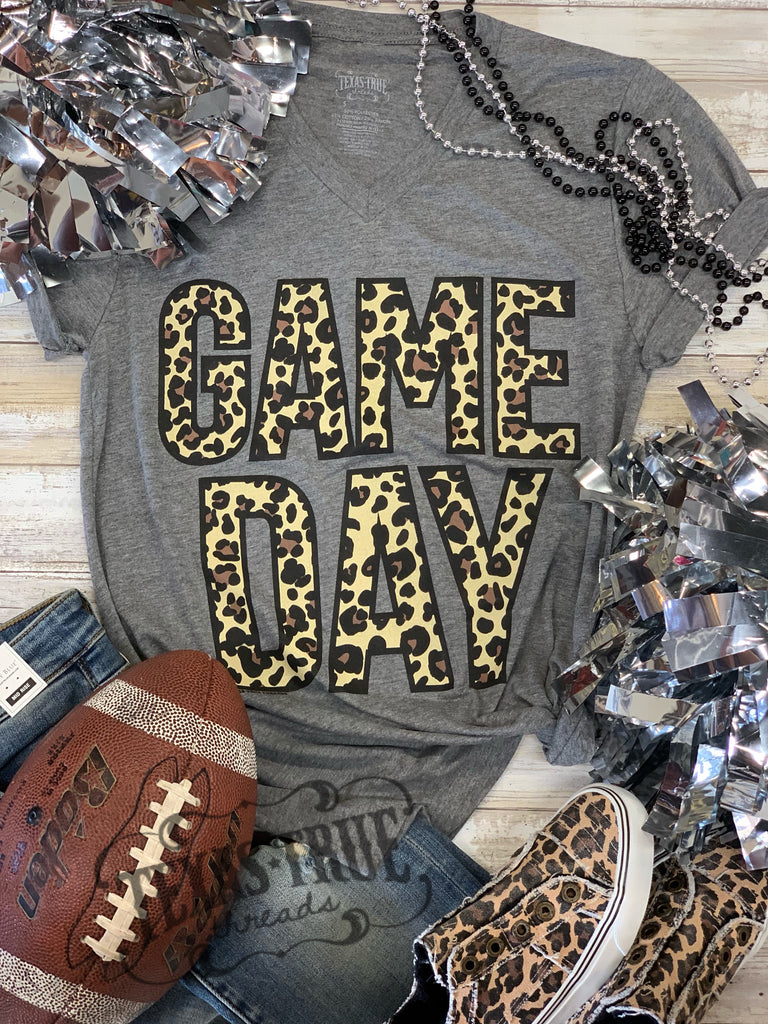BOLD {LEOPARD GAME DAY} Super Soft Gray V-Neck Tee