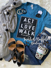 {ACT Justly LOVE Mercy WALK Humbly} Deep Teal V-Neck Tee