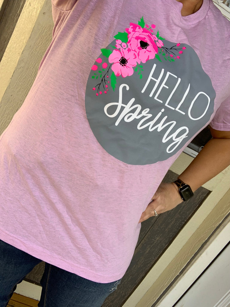 {HELLO SPRING} Floral Prism Lilac Crew Neck Tee