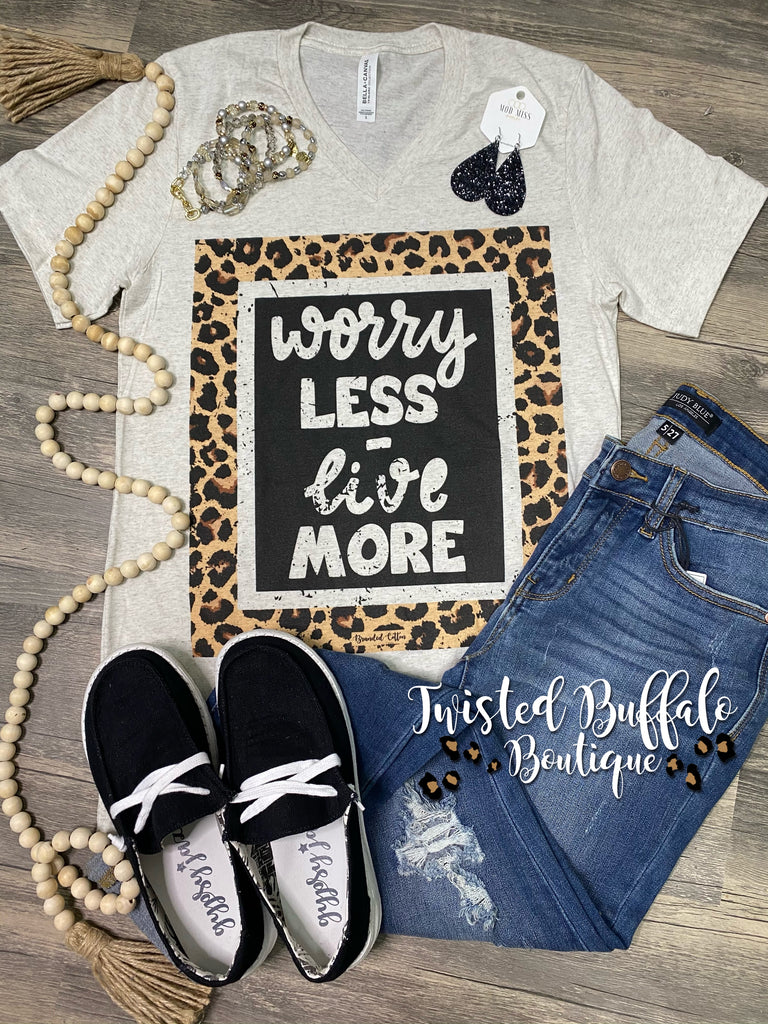 {WORRY LESS - LIVE MORE} Leopard + Black Oatmeal V-Neck Tee