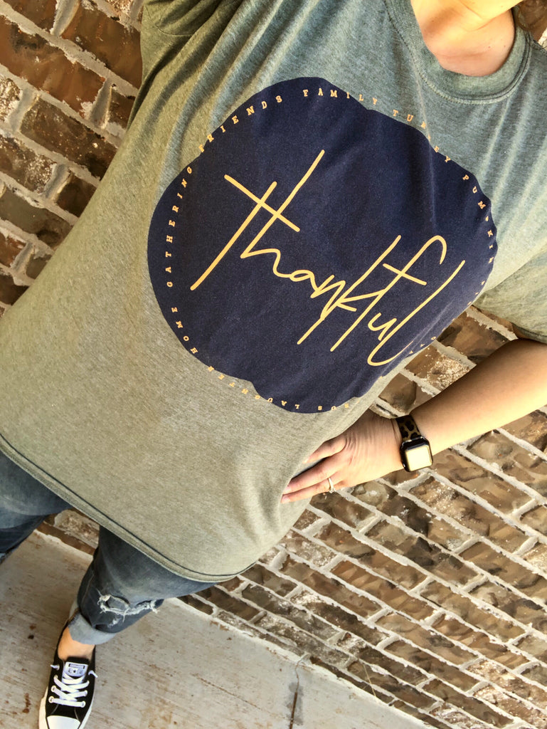 Olive {THANKFUL ALL AROUND} Crew Neck Tee