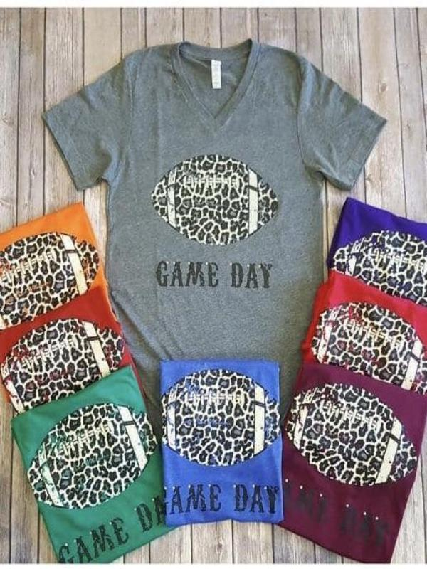 Leopard Football Game Day V-Neck Tee (Multiple Colors) {Pre-Order}