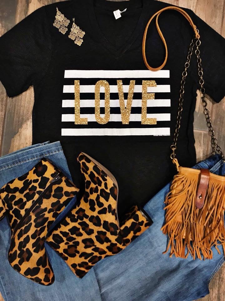 {BOLD IN LOVE} Stripes + Gold Glitter Char-Black V-Neck Tee