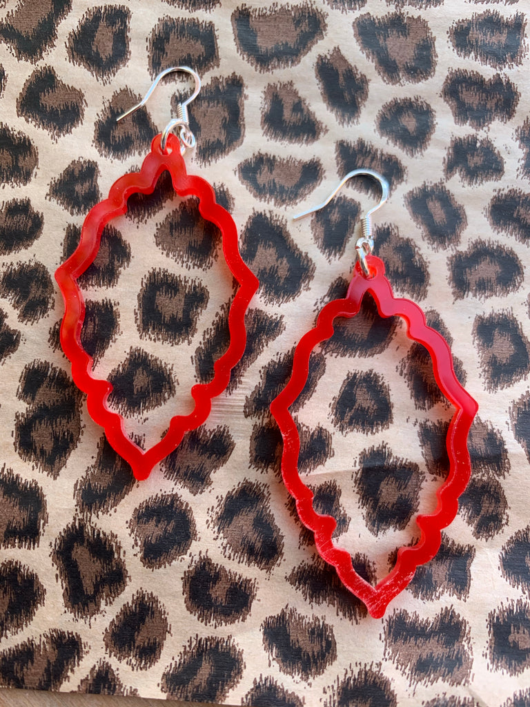 """Paxton"" Red Acrylic Scalloped Earrings"