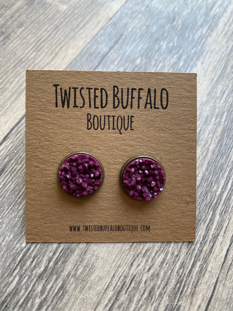 Deep Plum {ROUND} Sparkly Magenta 12mm Druzy Earrings