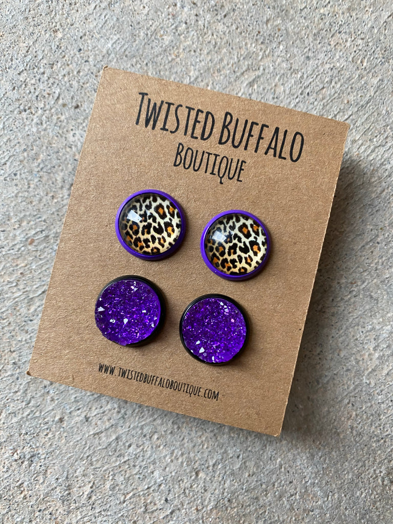 Della {ROUND} Leopard + Purple Druzy 12mm Earrings Set