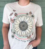 {THINK HAPPY THOUGHTS} Sunflower, Rainbow + Butterfly Mix Oatmeal Crew Neck Tee