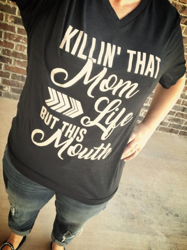 Killin' That Mom Life But This Mouth Black Slub V-Neck Tee