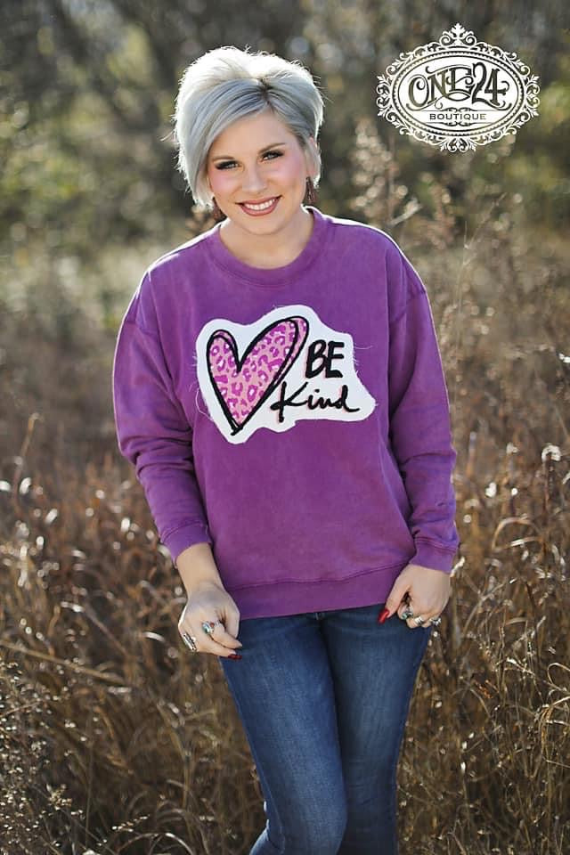 {BE KIND} Pink Leopard Heart Chenille Patch Magenta Sweatshirt