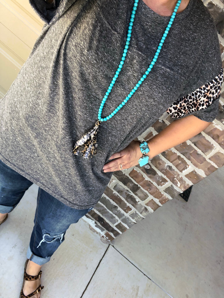 """Josie"" Dark Heather Gray & Leopard Loose Fit Top"