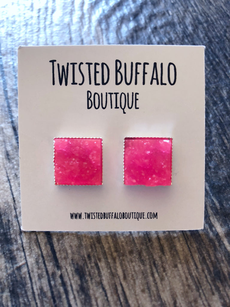 """Cyndi"" BRIGHT Neon Pink Druzy 12mm Square Stud Earrings"