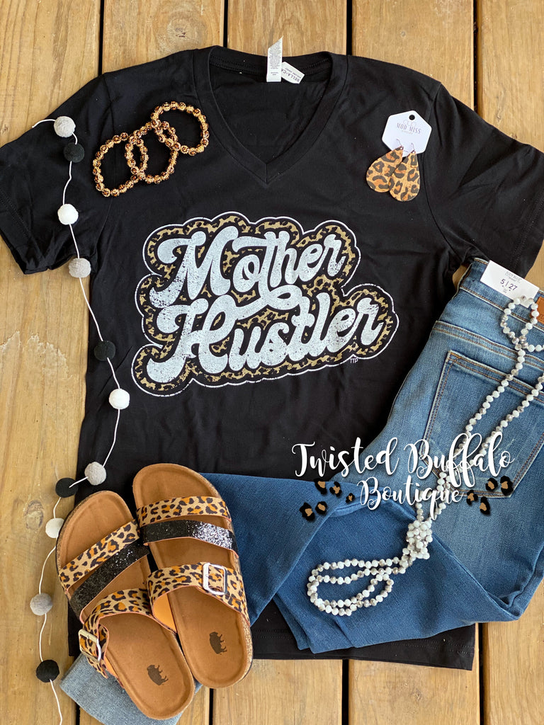 {MOTHER HUSTLER} Leopard Distressed V-Neck Tee