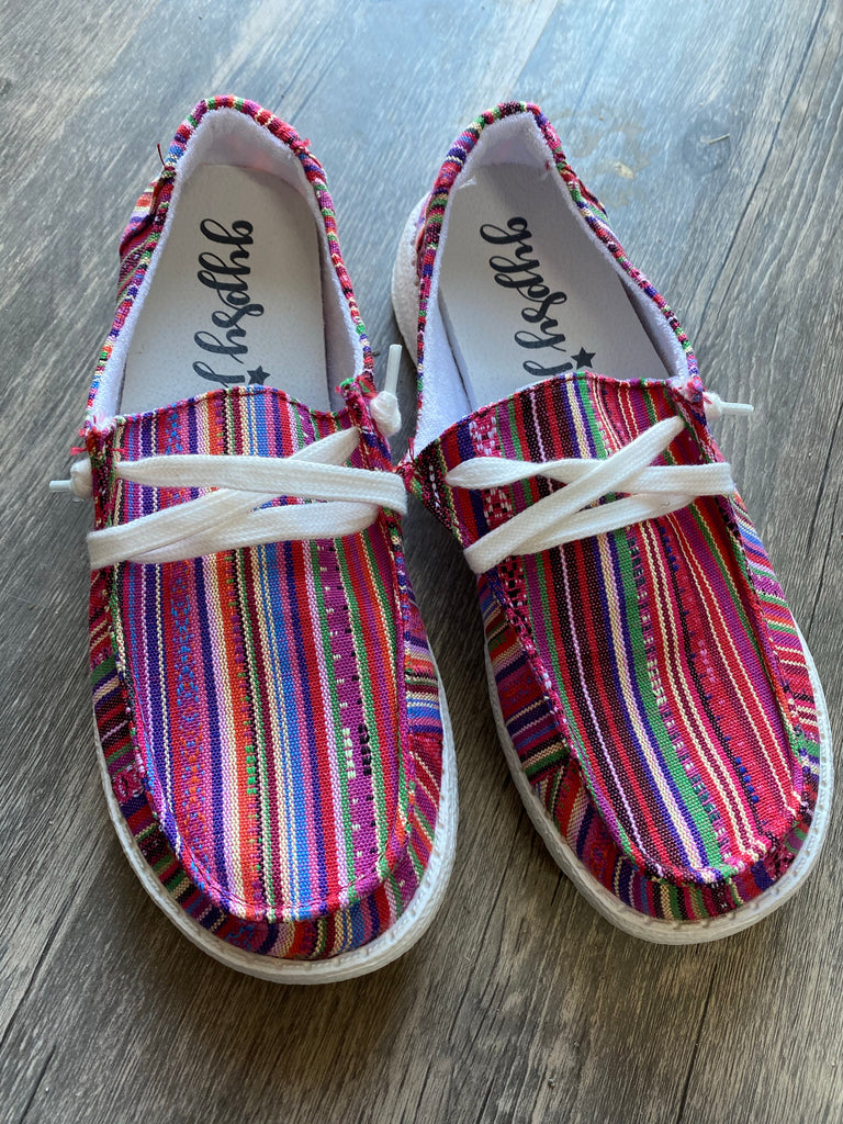 {CHASKA} Colorful Tribal Gypsy Jazz Holly Slip On Canvas Sneaker
