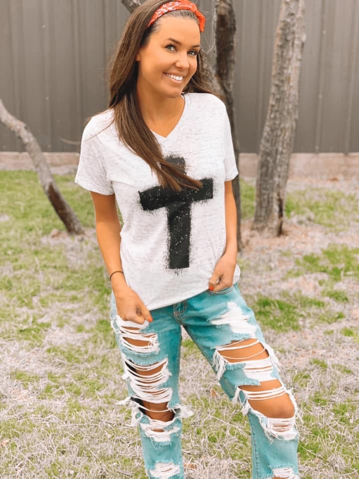 {AT THE CROSS} Black Cross White Marble V-Neck Tee