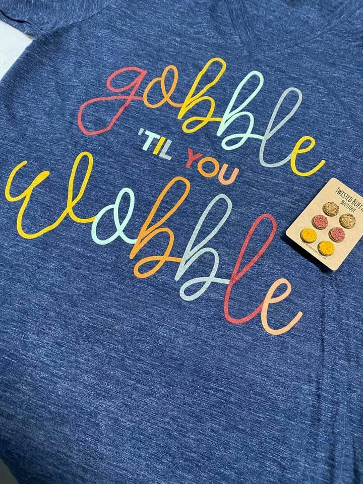 {GOBBLE TIL YOU WOBBLE} Colorful Navy Slub V-Neck Tee