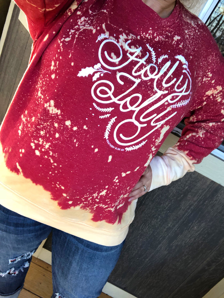 Distressed {RED} Holly Jolly Sweatshirt