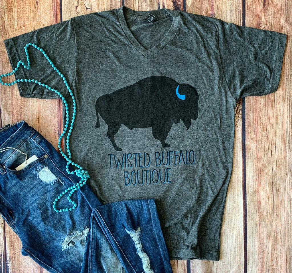 Twisted Tee $20 Special:  Twisted Buffalo Boutique 3rd Anniversary Gray V-Neck Tee {Pre-Order:  Ships in 2-3 Weeks}