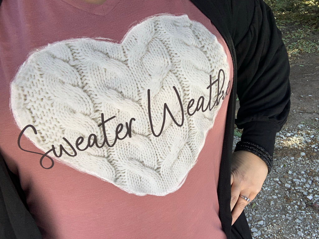 {SWEATER WEATHER} Heather Mauve V-Neck Tee