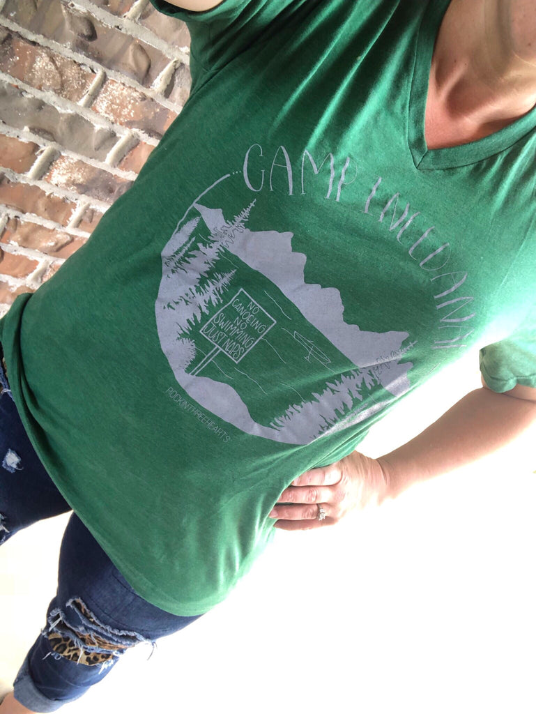 Camp INEEDANAP Grass Green V-Neck Tee